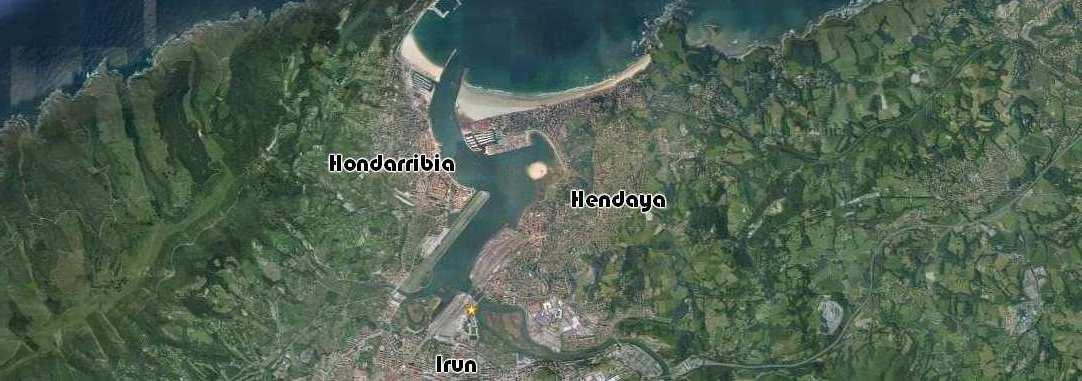 Mapa aereo ubicación pension europa, Irun, Hondarribia, Hendaya
