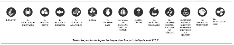 Platos combinados en Irún. Tabla de alergenos e intolerancias.