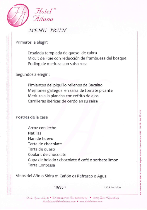menu fiesta alarde irun guipuzcoa